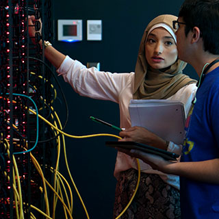 Students working in a datacenter