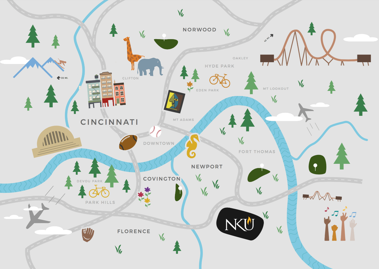 Graphic map of Cincinnati and Northern Kentucky area
