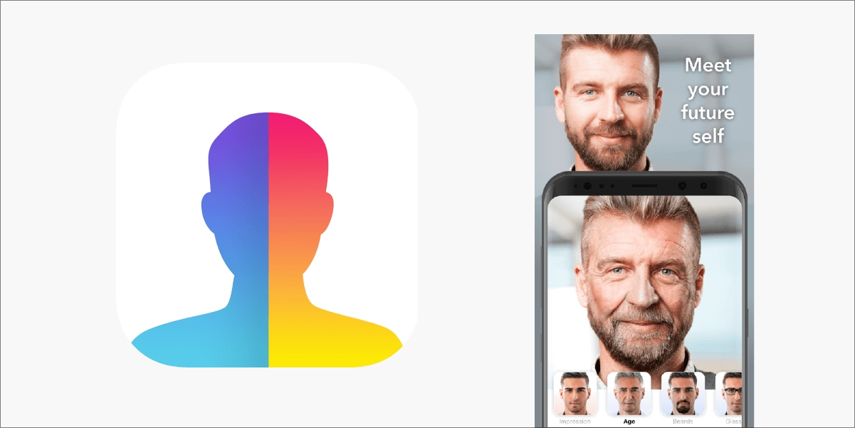 FaceApp logo and example of the old age filter