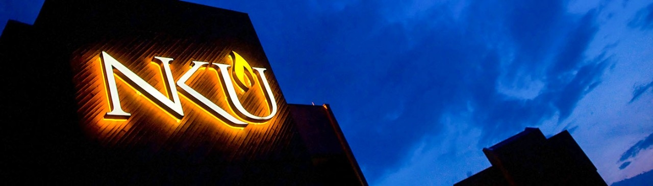 NKU sign light up at night
