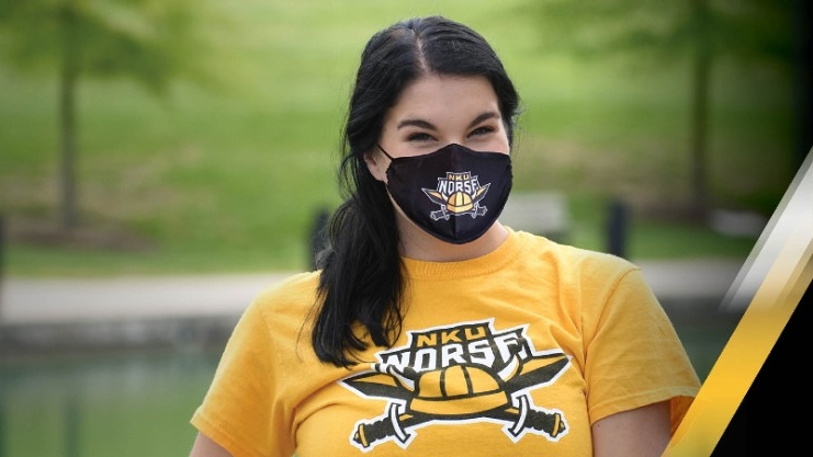 NKU Student wearing a facial covering