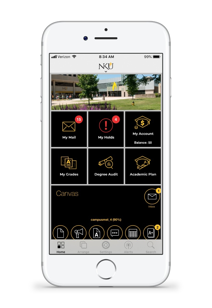 NKU app screen shot with features