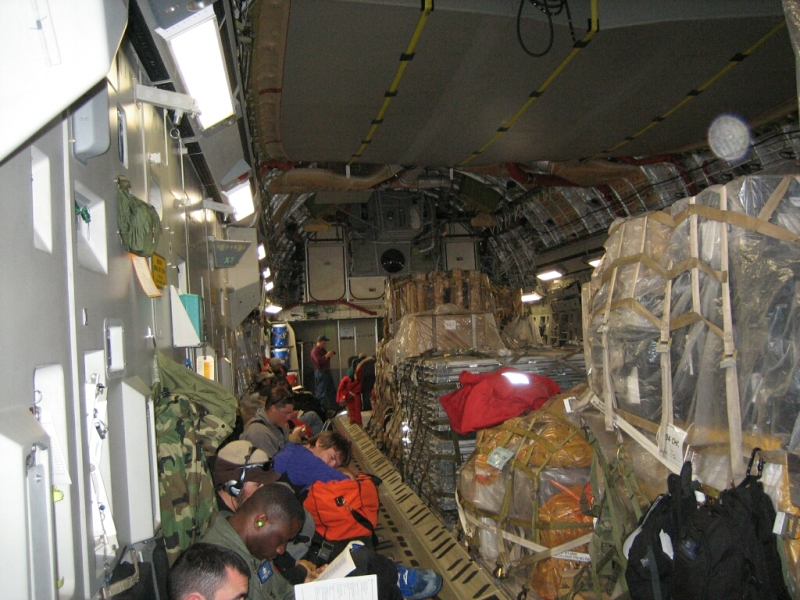 The Interior Was Much Roomier. There Were Even Some REAL SEATS! Even One  Real Bathroom This Time, As Opposed To The Wall Mounted Receptacles In The  C130.